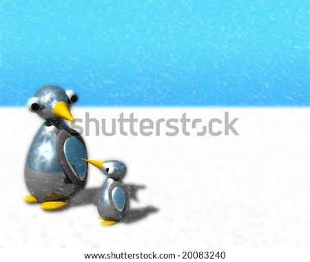 Cute little penguin family walking as snow is falling.
