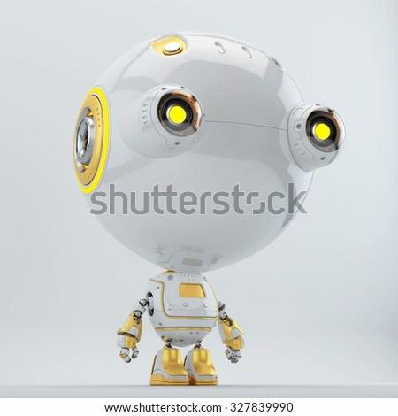 Cute little radio controlled toy - robotic toddler with yellow illuminated parts, big eyes - cameras / Robotic toddler with yellow elements - stock photo