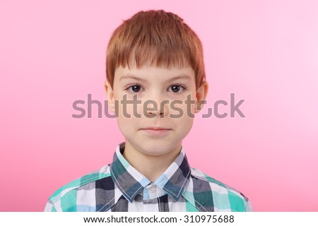 cute little red hair boy - stock photo