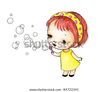 cute little redhead girl blowing soap bubbles on white background - stock photo