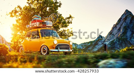 Cute little retro car with suitcases and bicycle on top goes by wonderful countryside road at sunset. 3D Illustration