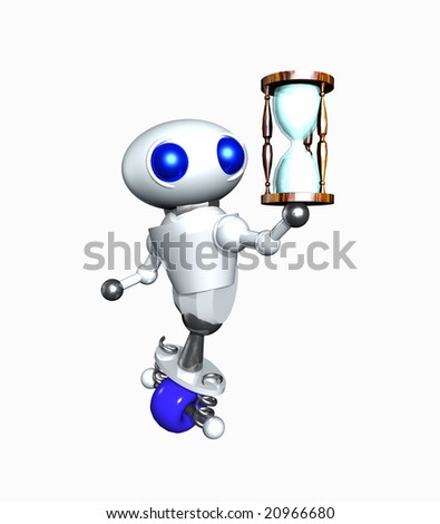 Cute little robot holding a wooden hourglass.
