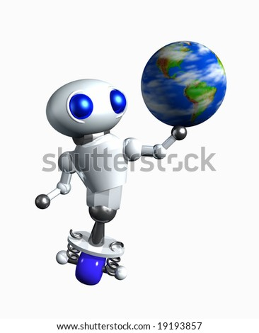 Cute little robot spinning a globe on his hand.
