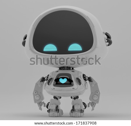 Cute little robotic toy/ Lonely small futuristic robot with heart  - stock photo