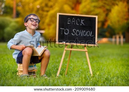 Cute little schoolboy reading book  - stock photo