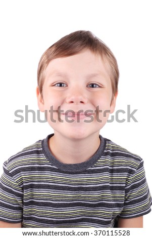 cute little smiling boy closeup - stock photo