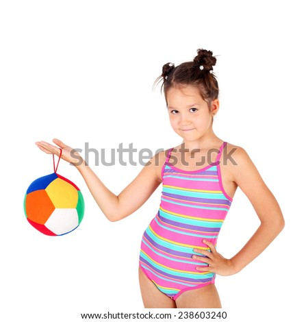 cute little sport girl with the ball - stock photo