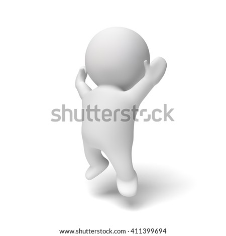 cute little white human 3d character  jumping happily in a white scene (3D illustration isolated on a white background) - stock photo