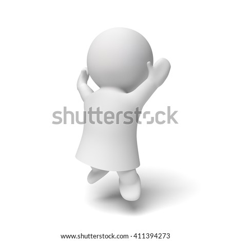 cute little white human 3d person wearing a gown jumping enthusiastically in a white scene (3D illustration isolated on a white background)