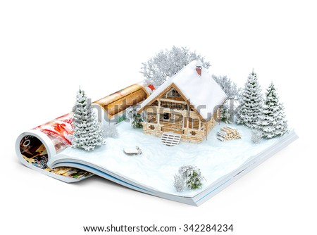 Cute log house on a page of opened magazine in winter. Unusual winter illustration. Isolated