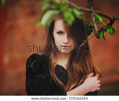 Cute lovely red hair girl portrait