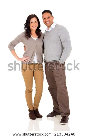 cute mid age couple hugging on white background - stock photo