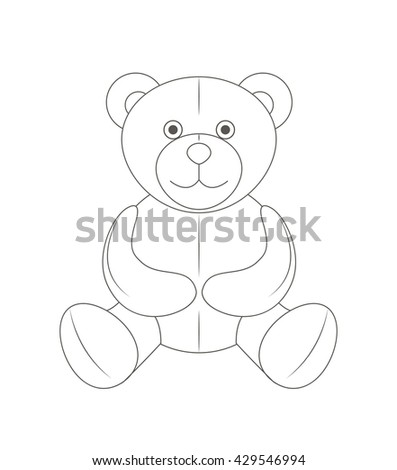 Cute monochrome outline teddy bear, soft toy, illustration and art - stock photo