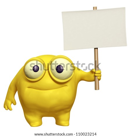 cute monster holding placard - stock photo