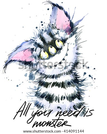 Cute monster watercolor illustration. Fluffy Monster. Cartoon cute monster. All you need is monster hand written text. Invitation card.  - stock photo