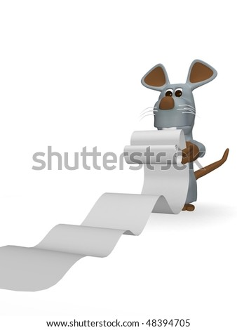 cute mouse with errands to run - stock photo