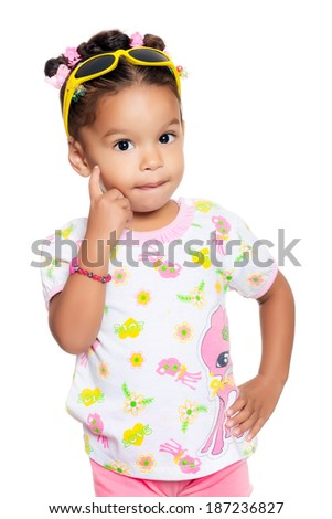 Cute multiracial small girl isolated on a white background