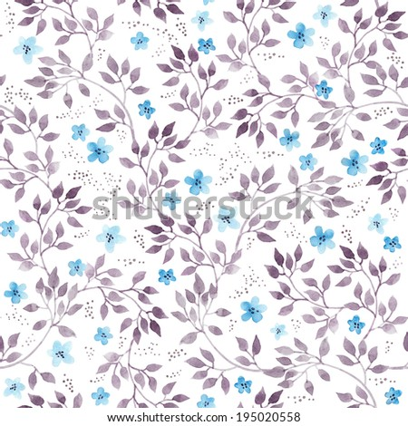 Cute naive vintage flowers and leaves. Seamless floral pattern. Hand drawn retro aquarelle. - stock photo