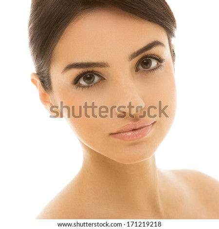 Cute, natural woman with beautiful brown eyes - stock photo