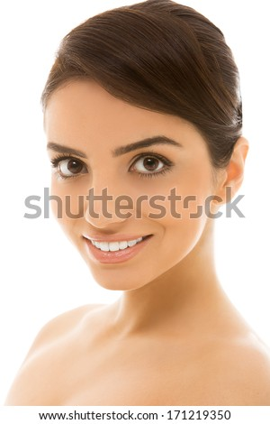 Cute, natural woman with beautiful smile - stock photo