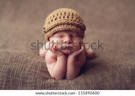 Cute newborn baby boy - stock photo