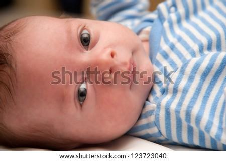 Cute Newborn Baby Boy Lying Down Stock Photo 123723040 ...