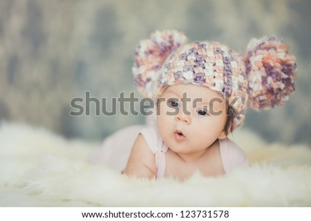 Cute newborn baby girl - stock photo