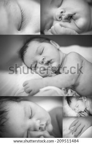 Cute newborn baby sleeping on a blanket ( black and white )