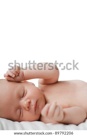 Cute newborn child on white, isolated. - stock photo