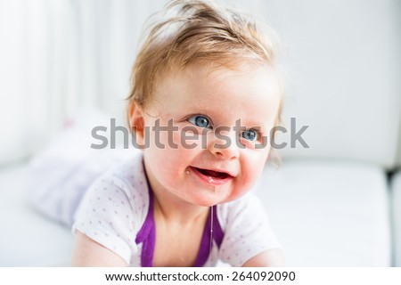 Cute newborn girl - stock photo