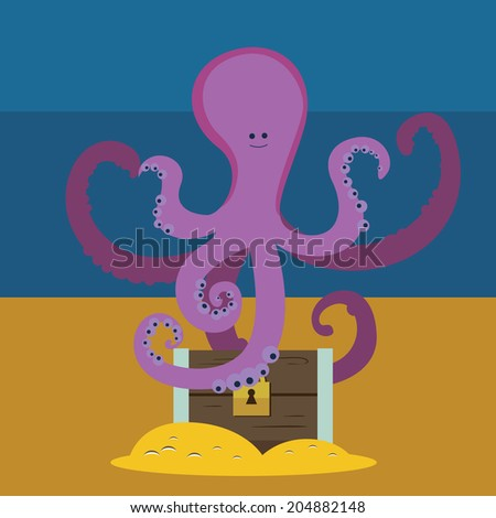 Cute octopus and chest with gold Raster version - stock photo