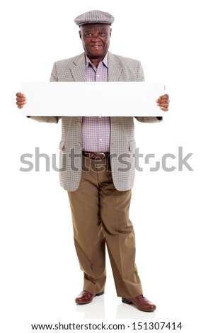 cute old african american man holding blank board isolated on white - stock photo