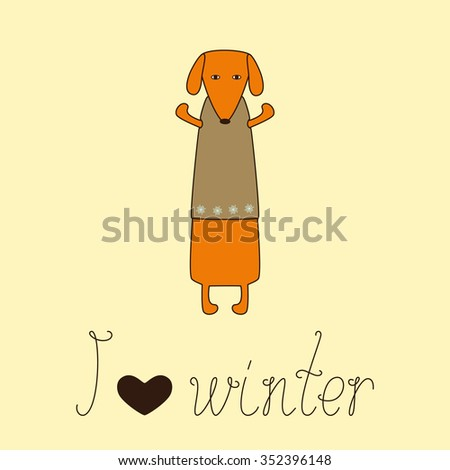 Cute orange colored brown contoured dachshund standing on hind legs with dissolved forelegs in beige waistcoat decorated with snowflakes and calligraphic lettering I love winter with heart - stock photo