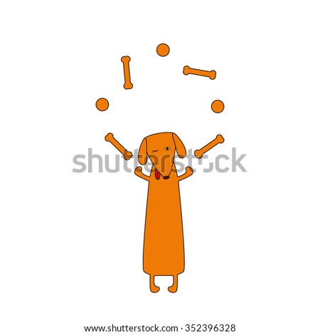 Cute orange colored brown contoured dachshund with protruding tongue, one eye closed and one opened standing on hind legs and juggling bones and balls forelegs. Vector flat style illustration - stock photo