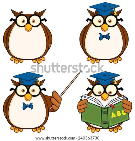 Cute Owl Cartoon Mascot Character 2. Raster Collection Set - stock photo