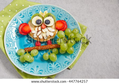 Cute owl pancake with fruits for kids breakfast
