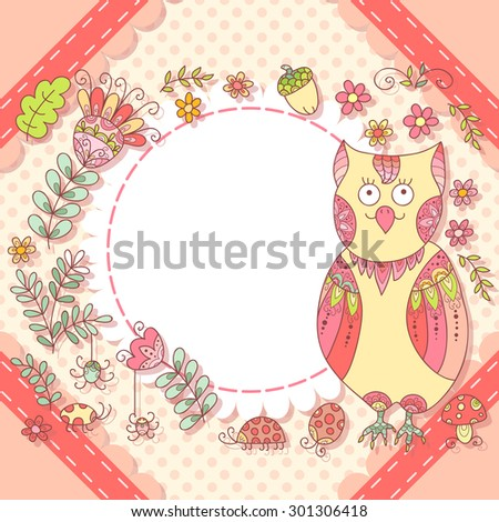 Cute owl photo frame. Baby shower card. Scrapbook elements.  - stock photo
