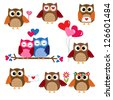Cute owls for Valentine day. Raster version - stock photo