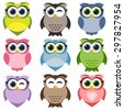 Cute owls set. Raster version - stock photo