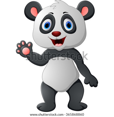 Cute panda cartoon waving hand - stock photo