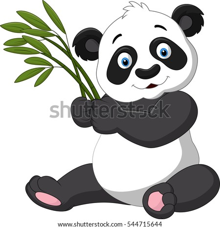 stock photo cute panda holding bamboo 544715644