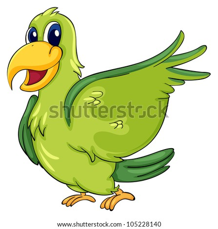 Cute parrot on a white background - EPS VECTOR format also available in my portfolio. - stock photo