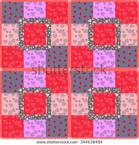 Cute patchwork seamless pattern with hearts, berries and sweets. Illustration for Valentines day. - stock photo
