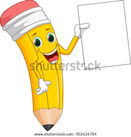 cute pencil with blank sign - stock photo