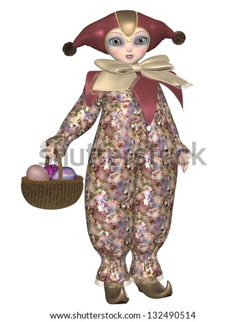 Cute Pierrot style clown doll from traditional French pantomime with a basket of Easter Eggs, 3d digitally rendered illustration - stock photo