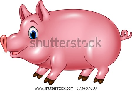 Cute pig isolated on white background