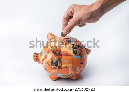 Cute Piggy for Personal Savings and Earnings. Save money. - stock photo