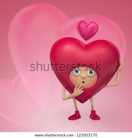 cute pink 3d heart cartoon character in love. Valentine's Day greeting.