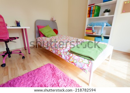 Cute pink room for girl from the inside - stock photo