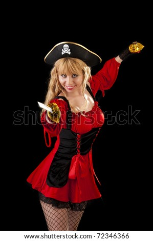 Cute Pirate woman isolated